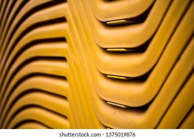 Yellow sunbeds, close up