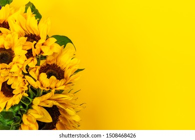 Yellow Sunflower Bouquet on Bright Background, Autumn Concept, Top View, Space for Text