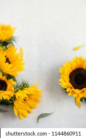 Yellow Sunflower Bouquet on Grey Background, Autumn Concept, Top View, Space for Text