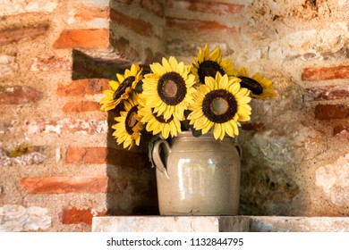 Yellow Sunflower Bouquet on White Rustic Background, Autumn Concept, Top View, Space for Tex