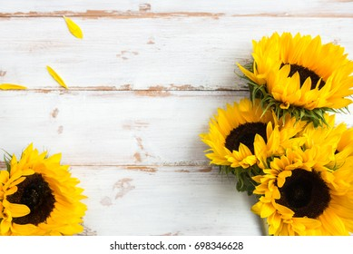 Yellow Sunflower Bouquet on White Rustic Background, Autumn Concept, Top View, Space for Text