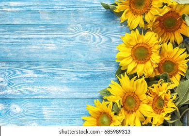 Yellow sunflowers on blue wooden background. Copy space. Top view.