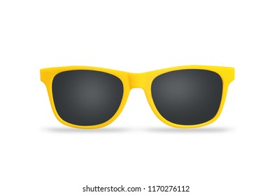 Yellow  sunglasses isolated on white background.