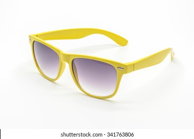yellow sunglasses isolated on a white background
