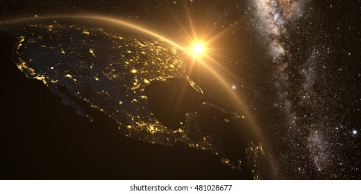 Yellow sunrise, sunburst, future earth seen froom space, yellow glow effect. 3D render. Elements of this image furnished by NASA