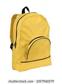 yellow synthetic fabric backpack isolated on white