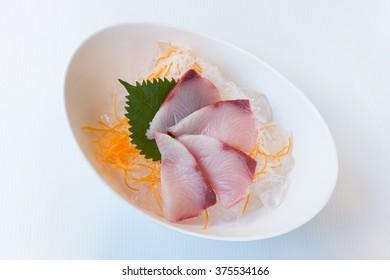 Yellow tail fish raw sliced