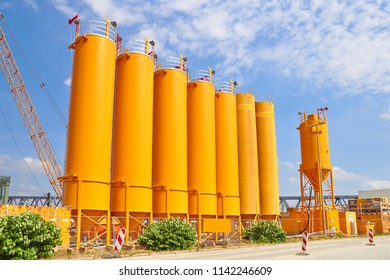 Yellow tanks on industrial site
