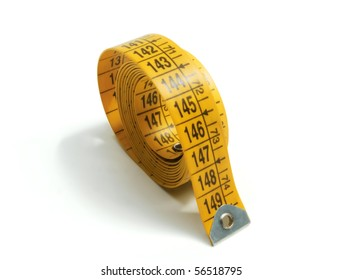 Yellow tape measure on white background Bitmap image: High Resolution Image