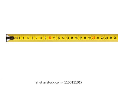 Yellow tape measure tool, isolated on white background
