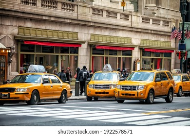 Yellow Taxi in Manhattan, New York City  in USA