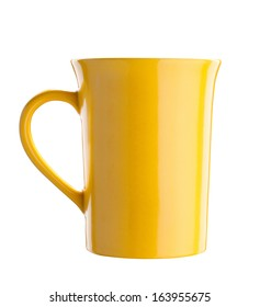 Yellow tea cup isolated on white background with path