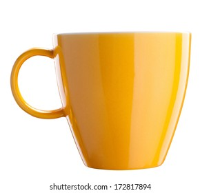 Yellow tea cup isolated on white with path