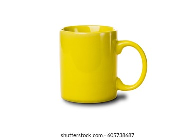 Yellow tea cup isolated on white background. Studio photo.