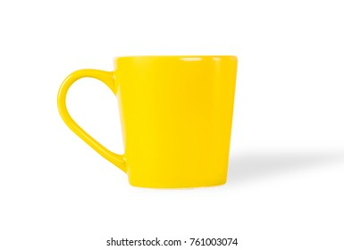 Yellow tea cup isolated on white background.