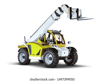 Yellow Telehandler with White Background