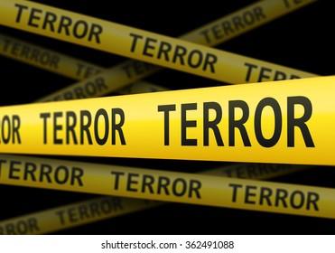 Yellow terror police line barrier