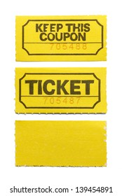Yellow Ticket and Coupon Isolated on White Background.