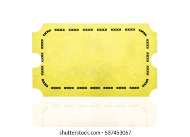 Yellow ticket isolated on white background.