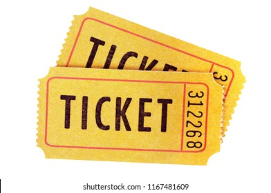 Yellow ticket isolated white background.