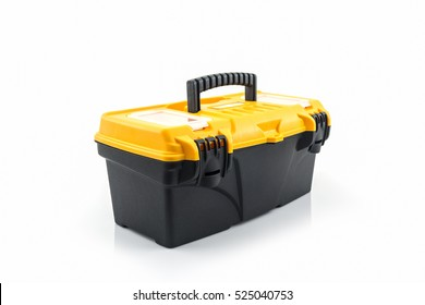 Yellow tool box, Plastic tool box on white background.
