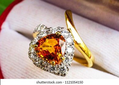 yellow topaz ring decorated with glitter diamond,the gift for wedding ceremony