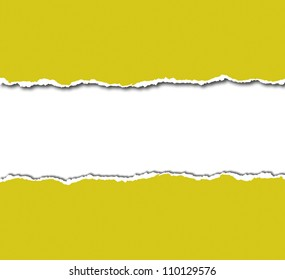 yellow torn paper with white copy space
