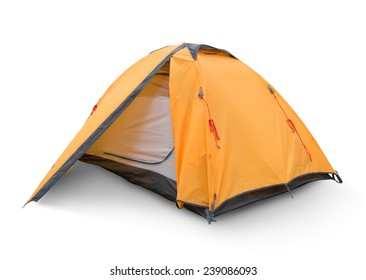 Yellow tourist tent isolated on a white backgrouynd