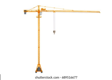 yellow tower crane isolated on white backgroun