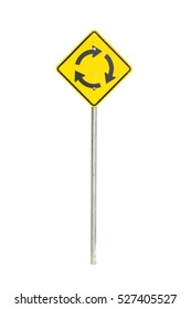 yellow traffic circle sign isolated on white background with clipping path