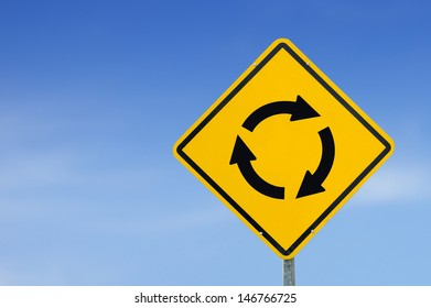 "Yellow traffic sign ""traffic circle"" on the sky background"
