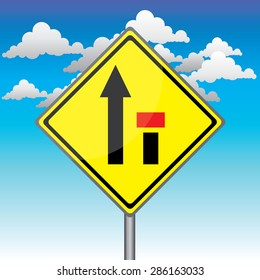 Yellow traffic square shaped Ending Right Lane sign with post on blue sky background