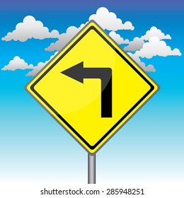 Yellow traffic square shaped Left  Curve sign with post on blue sky background