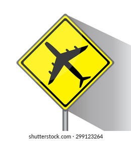 Yellow traffic square shaped Low Flying Planes type 1 sign with post on white background