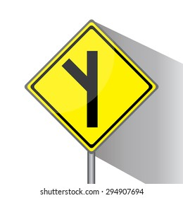 Yellow traffic square shaped Road branching off  left sign with post on white background