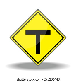 Yellow traffic square shaped T- Junction Ahead Type 1 sign on white background