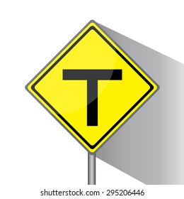 Yellow traffic square shaped T- Junction Ahead Type 1 sign with post on white background