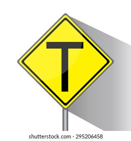 Yellow traffic square shaped T- Junction Ahead Type 2 sign with post on white background