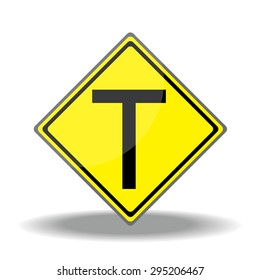 Yellow traffic square shaped T- Junction Ahead Type 2 sign on white background