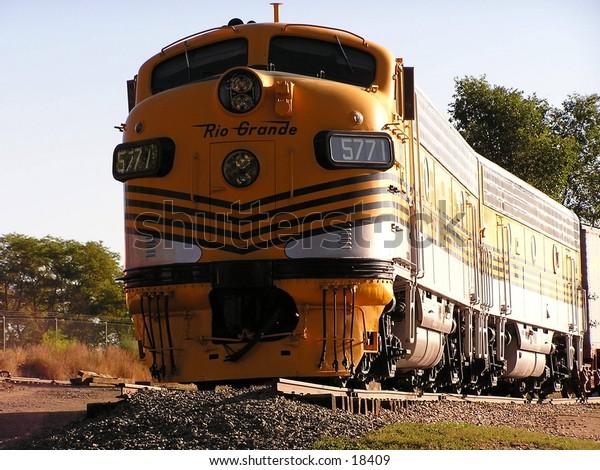 Yellow train engine.