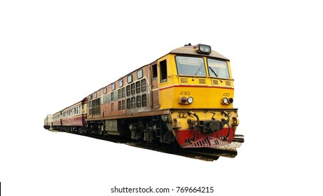 Yellow train, Thailand train, isolated on white background.