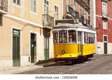 Yellow tram in Lisbon, Portugal. Picture is made with the tilt-shift lens.