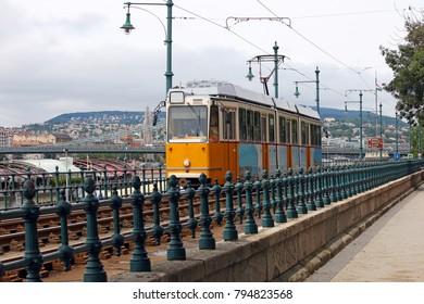 yellow tramway Budapest city Hungary