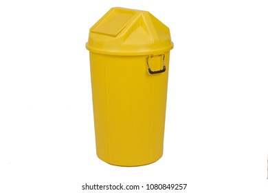 Yellow trash can (garbage bins) isolate on white background.