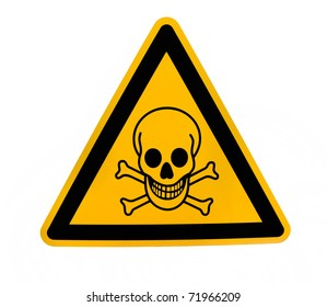 Yellow triangular danger sign with black skull