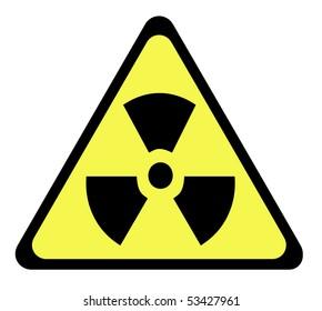 Yellow triangular radioactive sign, isolated on white background.