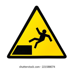 Yellow triangular sign warning for risk of falling