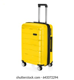 Yellow Trolley Luggage Bag Isolated on White Background. Vip Trolley Bag. Trolley Travel Bag. Spinner Trunk