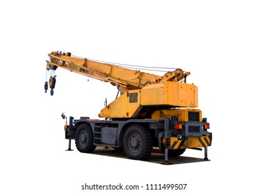 Yellow truck crane drop on the road and stand by for industry, heavy construction, isolate on white background with clipping path
