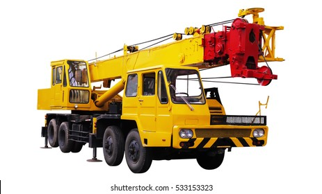 Yellow Truck Crane, Isolated